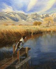 Springer Spaniel Hunting Lone Pine California oil painting