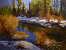 Truckee River Snowbank River oil painting