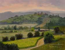 Tuscan Hill Country 14 x 18 inches oil painting