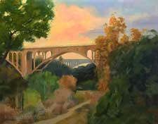 Twilight at the Colorado Street Bridge Pasadena art painting