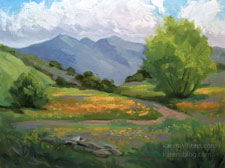 Where the Greener Grass Grows Visalia wildflower springtime oil painting