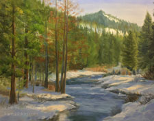 Winter on the Truckee River oil painting Lake Tahoe snow scape