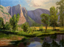 Yosemite Falls with Merced River 12 x 16 oil painting