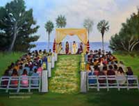 Indian Wedding Ceremony Live Event Oil Painting by karen Winters
