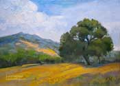California spring wildflower oak hillside impressionist oil painting artwork for sale by Karen Winters