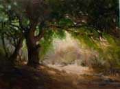 Oak tree California landscape oi painting with trail and lighted path beyond by Karen Winters