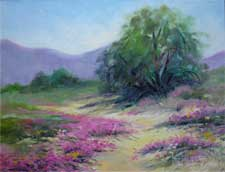 Anza Borrego sand verbena smoke tree wildflower oil painting