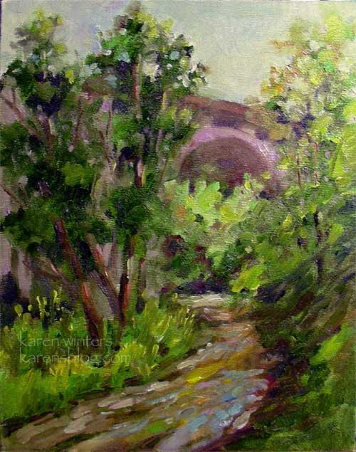 Arroyo Dawn Colorado Street Bridge Painting by karen Winters