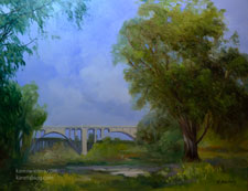 Arroyo Serenity Colorado Street Bridge oil painting for sale