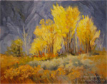 Aspen Grove in the Sierra, 11 x 14 oil painting, high sierra colorful fall foliage gold trees against blue violet mountains