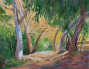 Autumn on the Trail - Flint Canyon Trail, La Canada Flintridge, California oil painting fall colors fine art for sale