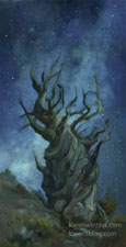 Bristlecone pine oil painting with milky way  white mountains oil painting