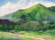 <Zaca Mountain Wine Country Los Olivos California landscape oil painting by Karen Winters>