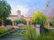 Mission San Juan Capistrano Fountain Oil Painting California mission painting by Karen Winters