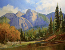 Cathedral Beach Yosemite Autumn painting