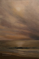 Cayucos Glowing Sunset Ocean Beach Oil Painting with sun shining in the water