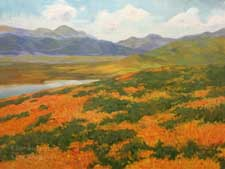 Celebrating the Superbloom California poppies wildflowers golden state oil painting