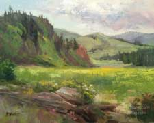 Colorado sunny meadow Rocky Mountains oil painting near Gunnison plein air wildflowers art