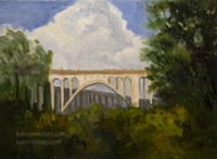 Colorado Street Bridge oil painting with thunderclouds