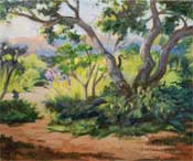 Descanso Gardens oak trees oil painting