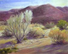 Desert Dawn landscape oil painting palm springs california impressionist art for sale