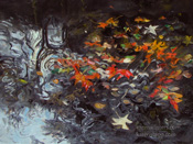Drifters in the Stream sycamore leaves oil painting