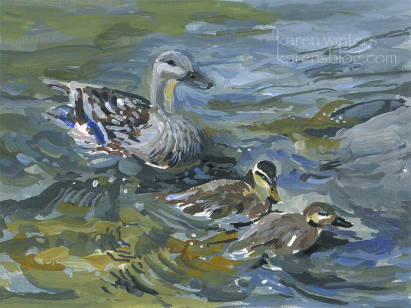 duck and ducklings acrylic painting