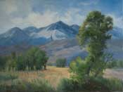 Edge of Autumn - Eastern Sierra Landscape featuring Mt. Tom, Basin Mountain and the Owens Valley by California impressionist, Karen Winters