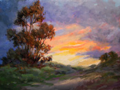 Eucalyptus sunset painting California impressionist landscape sunset painting by Karen Winters