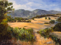 Golden California landscape oil painting