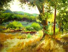 Golden Hour Paso Robles Lake Nacimiento area Oak Golden Afternoon Landscape Oil Painting. More of my central coast paintings can be seen at www.karenwinters.com/centralcoastpaintings