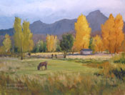 lone pine sierra nevada oil painting. A horse grazing in a meadow with cottonwood trees in the fall, near Lone Pine, California. The Sierras are blue violet, and the Alabama Hills can be seen through the clouds.