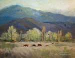 Grazing in Paradise Eastern Sierra Owens Valley ranching oil painting 8 x 10 by Karen Winters
