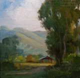 The Hay Barn, Central California 6 x 6 oil painting