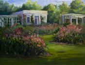 Huntington Gardens Tea Room and Rose Garden oil painting