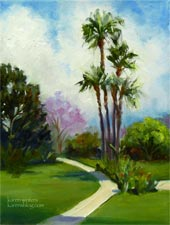 Huntington Langham Hotel palms garden oil painting wedding