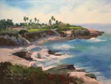 La Jolla Cove seascape oil painting San Diego marine ocean art contemporary impressionist plein air style artwork for sale Karen Winters
