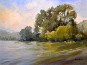 Laguna Lake San Luis Obispo oil painting Laguna Lake Reflections art by California landscape painter Karen Winters