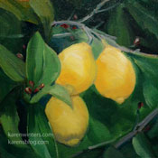 Lemon Trio Oil painting