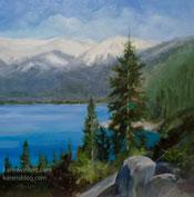 Lake Tahoe pine tree art oil painting