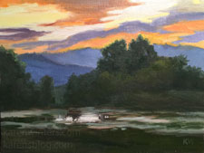 Peninsula Sunset Lower Crystal Springs Reservoir oil painting