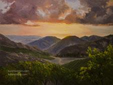 Malibu Vineyard Sunset oil painting