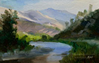 Merced River Yosemite entry road miniature oil painting 4 x 6 inches