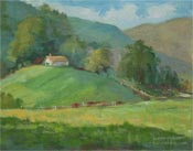 Fallbrook ranch cattle plein air oil painting