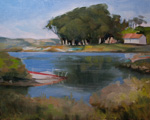 Morning at the Cove Morro Bay Los Osos Karner Point Cuesta Cove Plein Air Oil Painting by Karen Winters, California impressionist