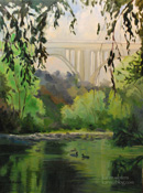 Morning Swim in the Arroyo - Pasadena Arroyo Oil Painting with Ducks