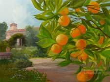 California mission building with orange trees - Old California building and garden orchard oil painting - California landscape impressionist art