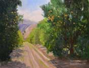 Rancho Camulos Orange Grove Oil Painting Highway 126 Santa Clara River Valley Fillmore Art California Impressionist Oil Painting by Karen Winters