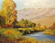 Owens River Fishing Big Pine oil painting eastern Sierra
