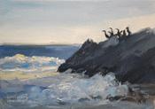 Pelican Rock, Malibu, Leo Carrillo Beach marine seascape California oil painting